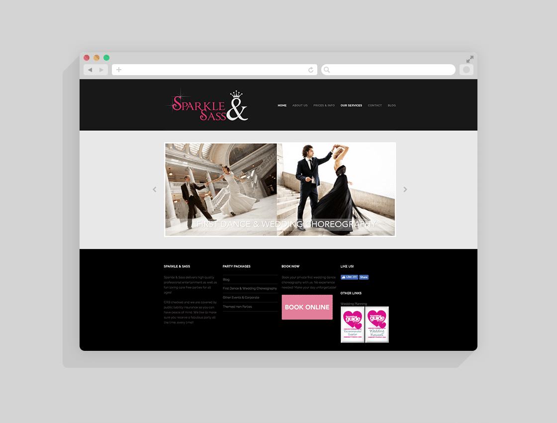 wedding services website design