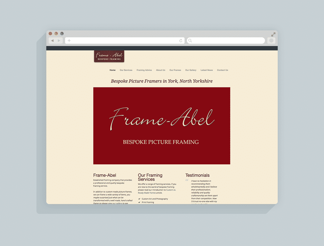 Bespoke Photo Framers Website Design